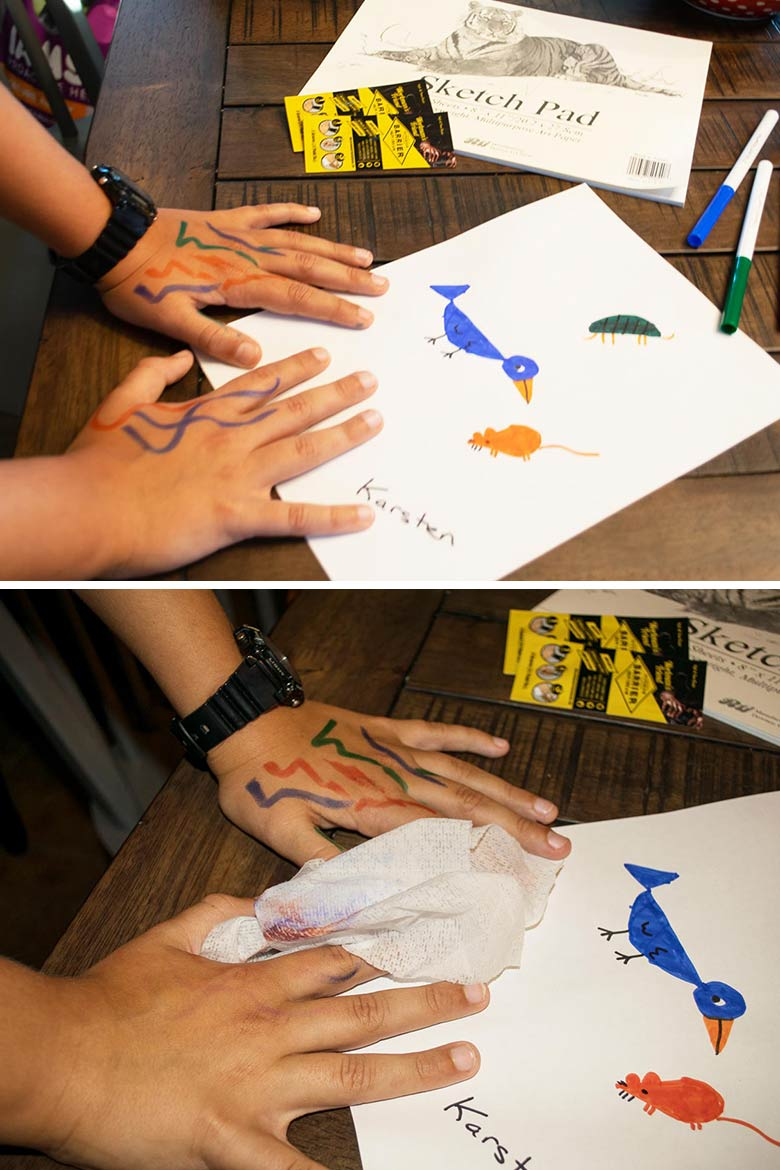before and after using workman's friend to keep marker off little kids hands.