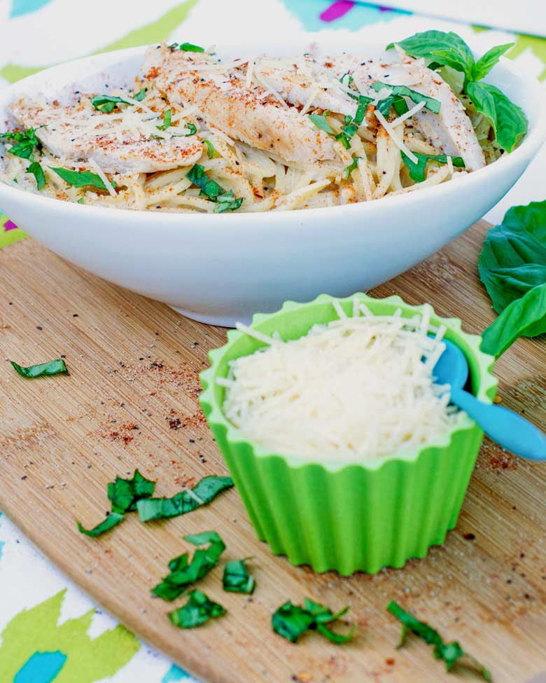 learn how to cook blackened chicken pasta for this easy weeknight dish of chicken pieces, alfredo sauce and fresh pasta, basil and parmesan.