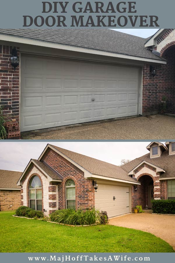 Thinking of doing a garage door makeover? This detailed DIY before and after will show you everything from cleaning, to what paint to use, and even hardware to get that carriage style look on a common roll up garage door. Full of ideas on what you need to update your garage and increase your curb appeal! via @mrsmajorhoff