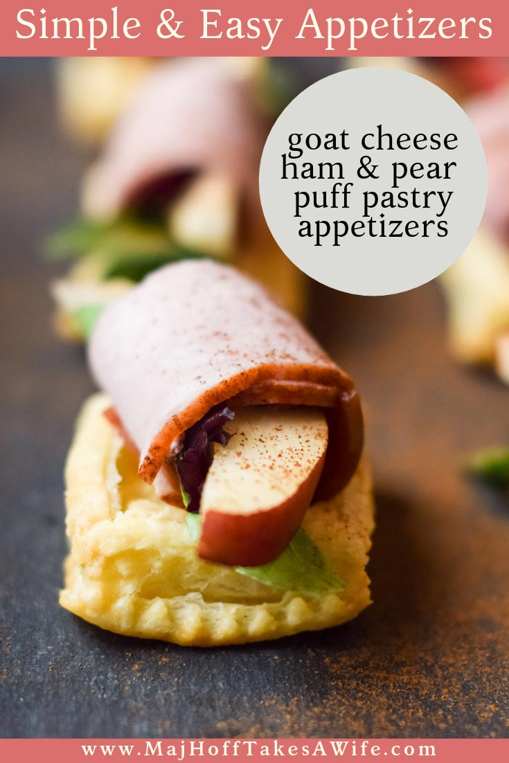 These simple and easy ham, pear and goat cheese appetizers are perfect for a party or as a starter for fancy dinners. Loaded puff pastries are the star of the show! Great snacks for the holidays or year round entertaining! Use different crusted goat cheeses like dried cranberries, different fruits or different meats to mix things up! via @mrsmajorhoff