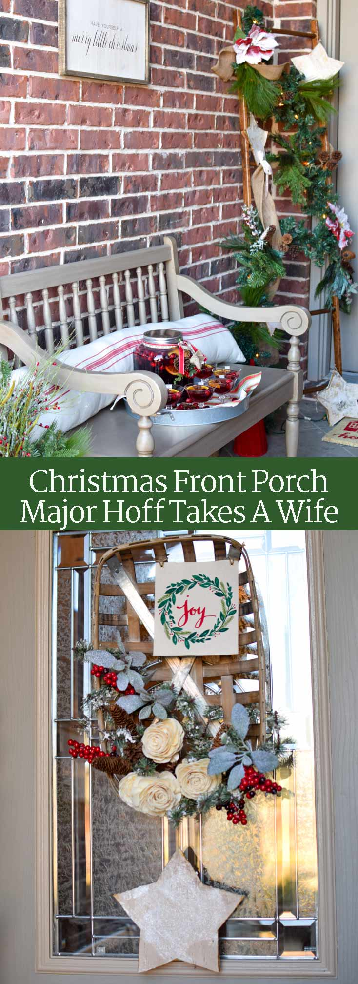This Christmas porch is full of holiday cheer! Enjoy the farmhouse style decor and grab lots of ideas for a simple Christmas wreath, a ladder with lights and garland, a bench with an inviting drink, and lots of other DIY decorations. Be sure to check out all the details! #Christmas #Christmasdecor #Christmascrafts via @mrsmajorhoff