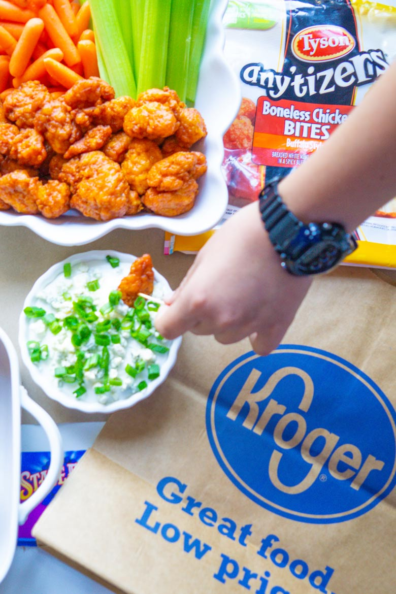 Tyson any'tizers boneless chicken bites with homemade game day dip