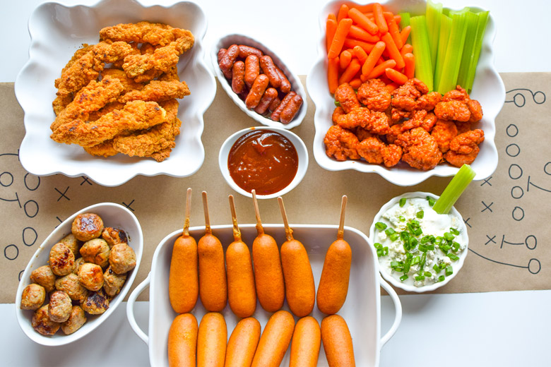 Easy spread for a game day party with the Tyson food offerings everyone loves