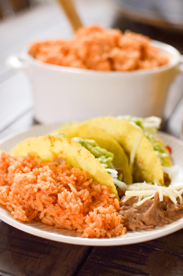 A side dish of spanish rice made in a pressure cooker