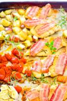 sheet pan chicken and bacon dinner