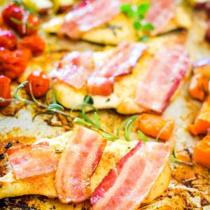 bacon topped chicken breasts