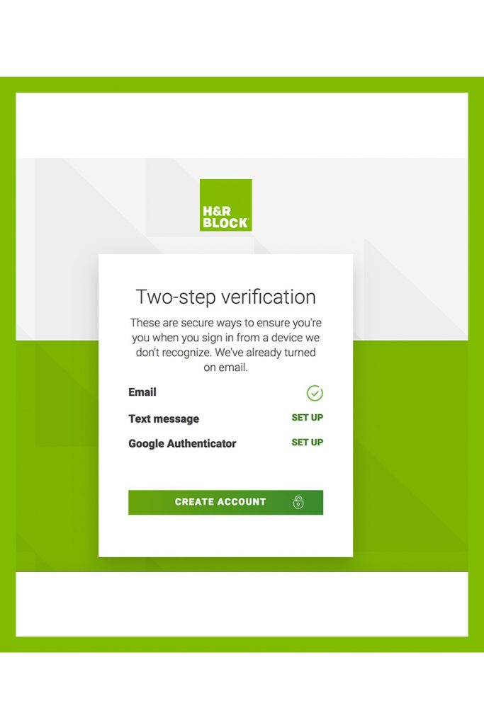 2 step verification screen on h&r block online program