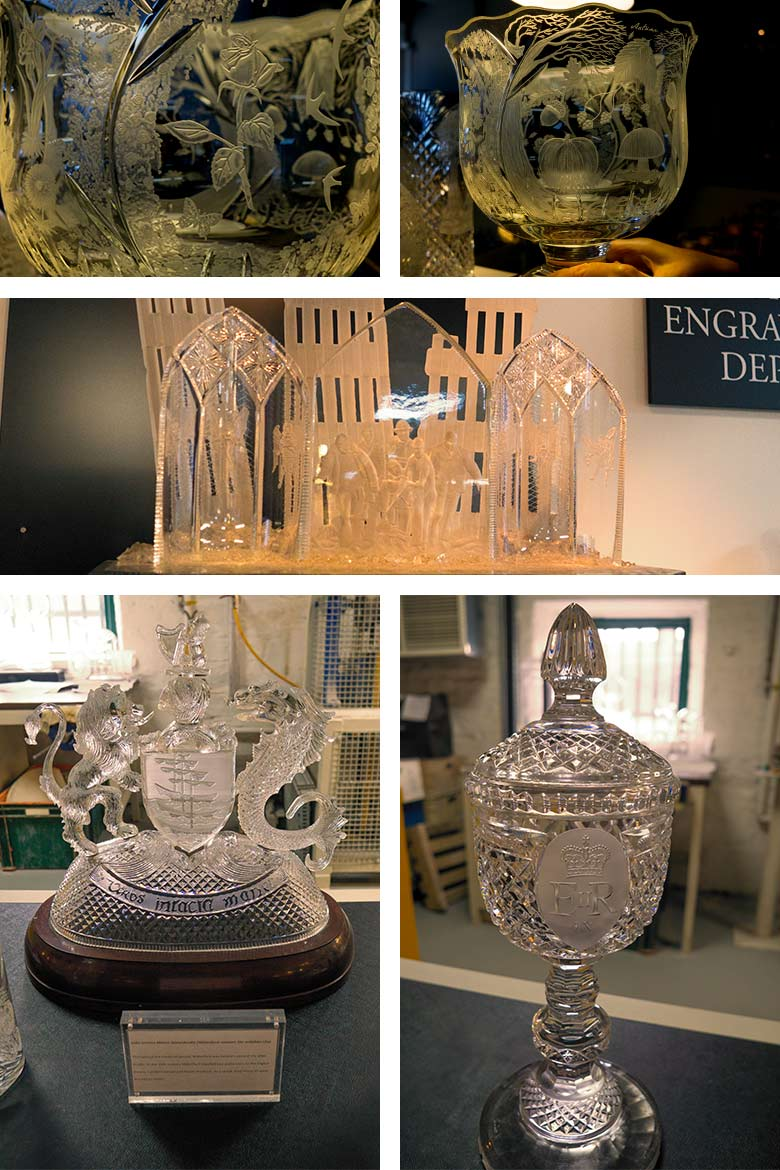 Finished pieces and close up views of engraving done on dishes, the 9/11 Waterford crystal memorial piece and more