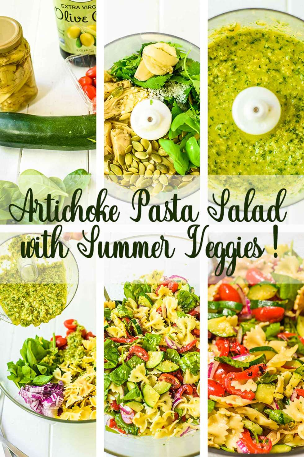 Assembling Homemade Pasta Salad with Artichokes and Summer Vegetables
