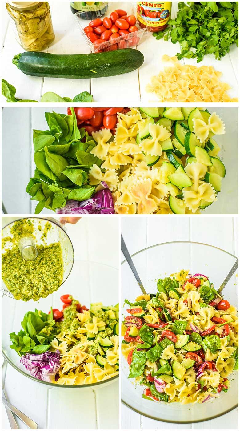 assembling pasta salad with artichoke pesto