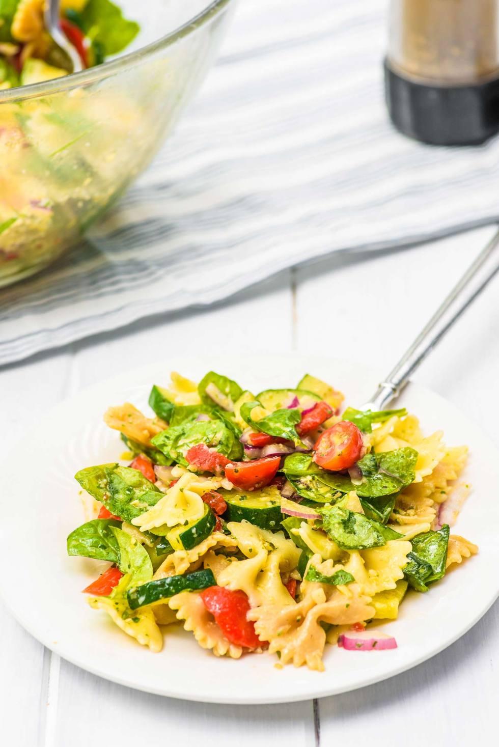 artichoke pasta salad on a plate
