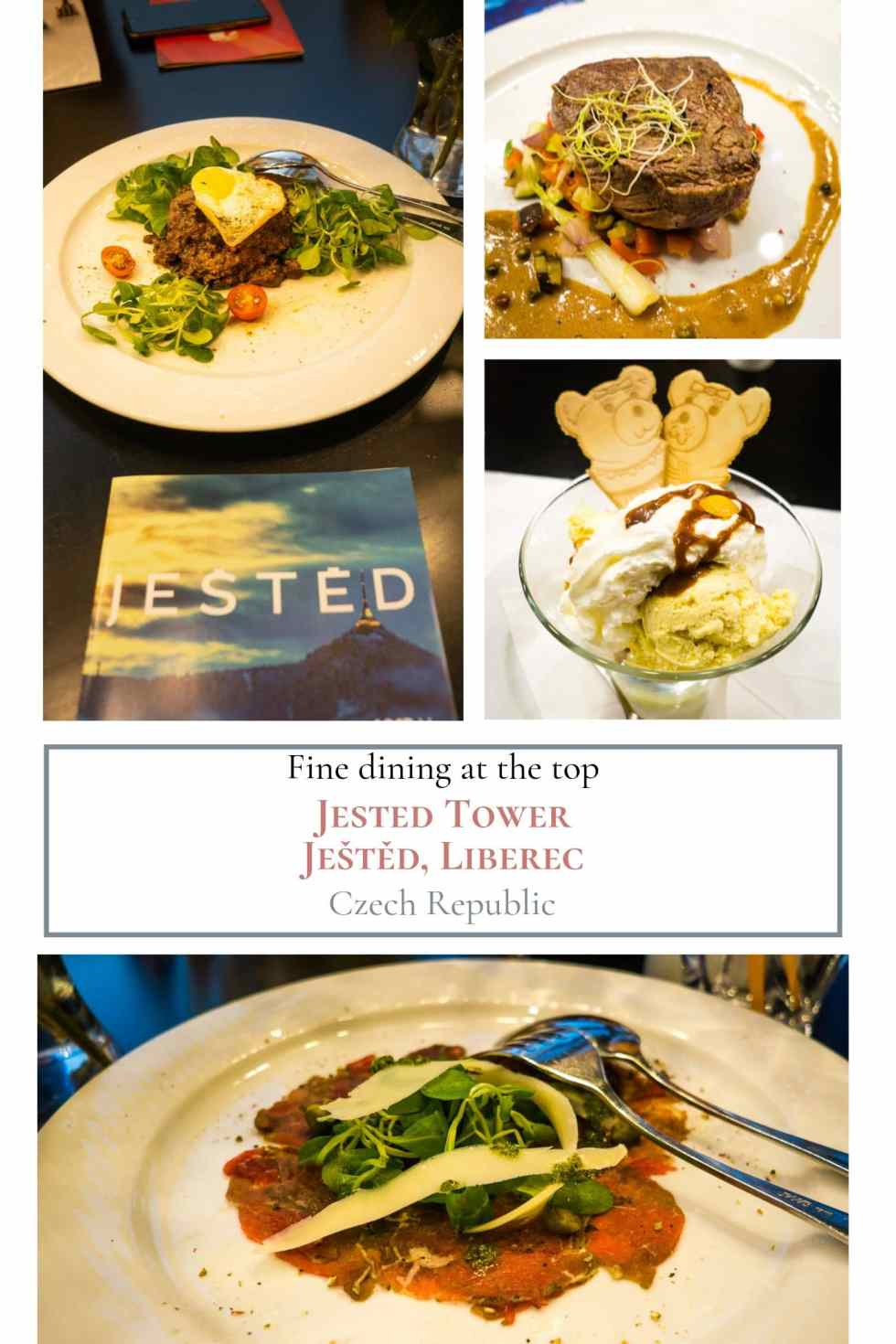Selections from the Jested tower restaurant in a collage