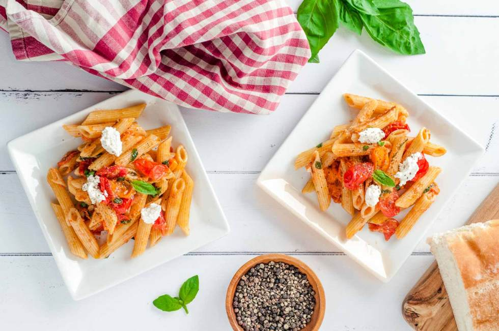 dinner of basil tomato pasta