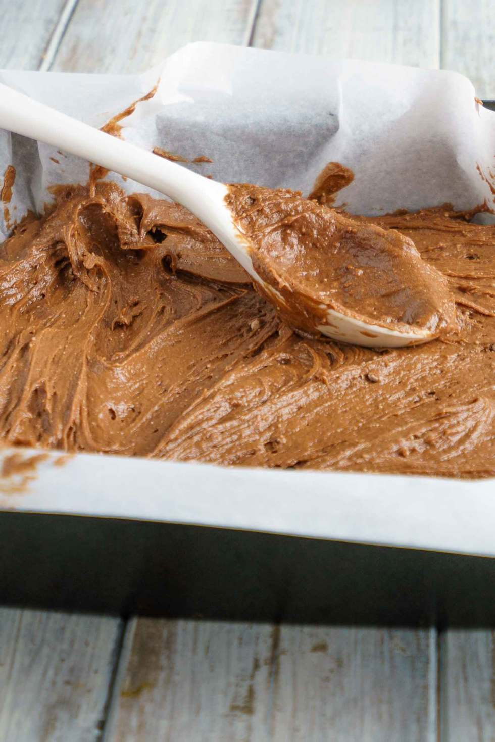 Chocolate cake mix and butter combine to make a crust