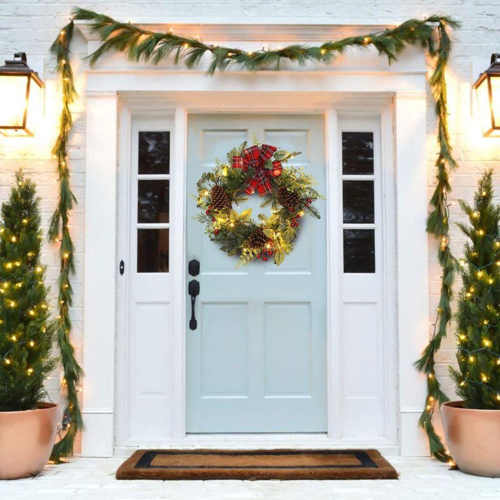 plaid bow wreath on amazon