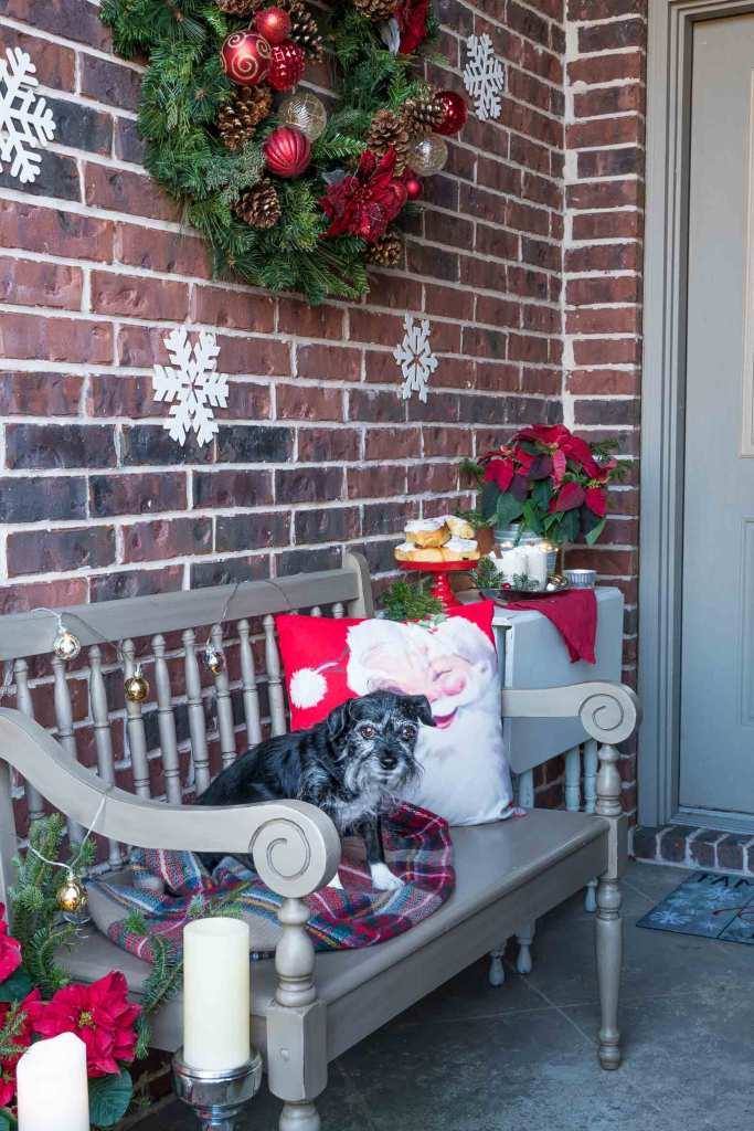 Holiday bench with a dog and santa pillow