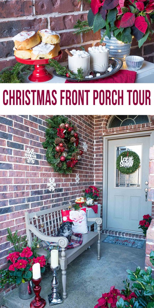 Christmas front porch tour— see all the tips and tricks to use these classic holiday ideas in your own decor. Simple ideas like easy to find evergreen wreaths, poinsettias, candlesticks and both boxwood and evergreen wreaths. Be sure to greet your guests to a drink, like this boozy hot white chocolate!