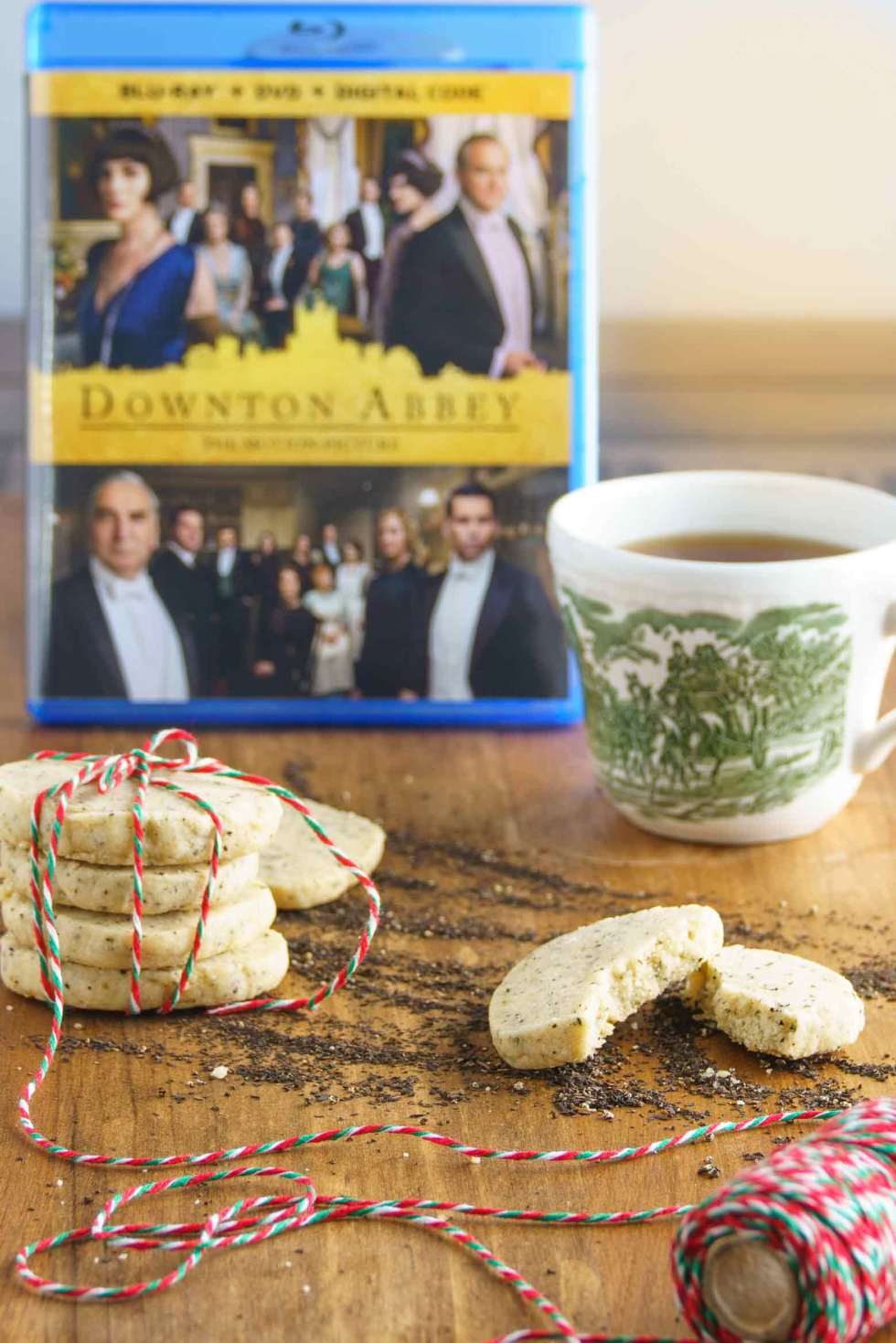 Downton Abbey DVD with tea and Cookies