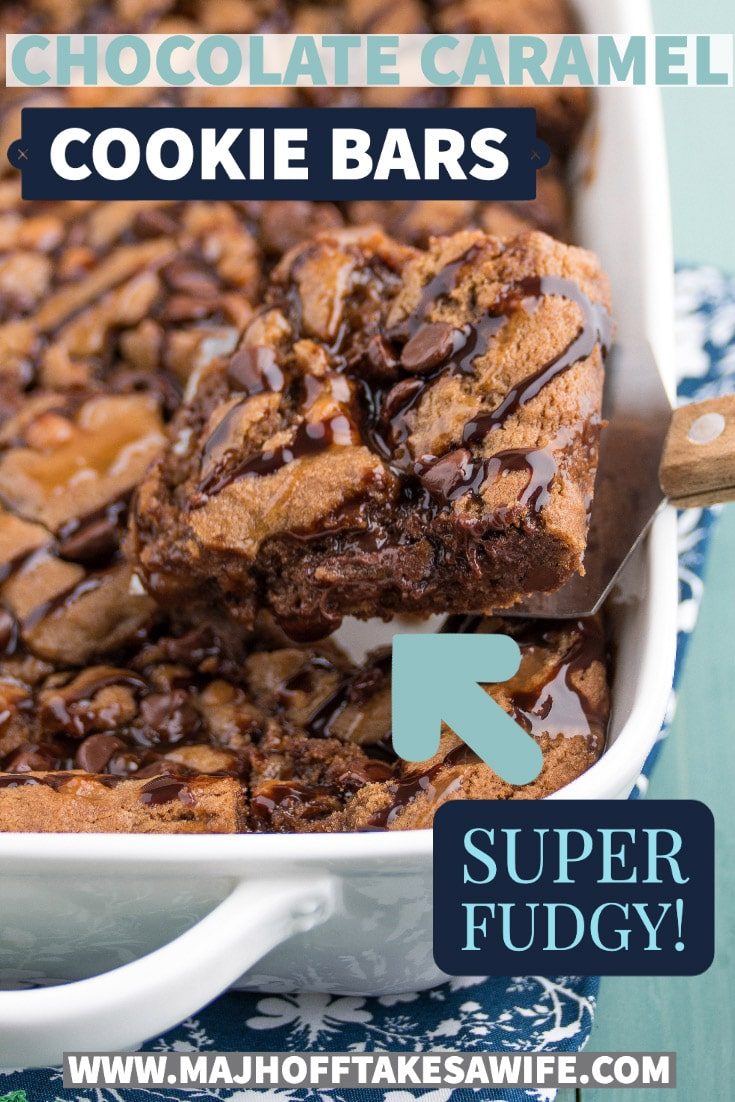Heavenly recipe for homemade melt in your mouth cookie bars mixed with milk chocolate chips, caramel bits and cocoa powder!!! Perfect dessert recipe that whips up in a flash with minimal dishes and prep! See how to make this classic chocolate chip cookie dough base with fun spin off ideas like salted caramel bars, mocha chocolate caramel bars and more! Learn the secret insider tips on how to make them soft and gooey like brownies, or more flat and crispy! Major Hoff Takes A Wife #cookiebars via @mrsmajorhoff
