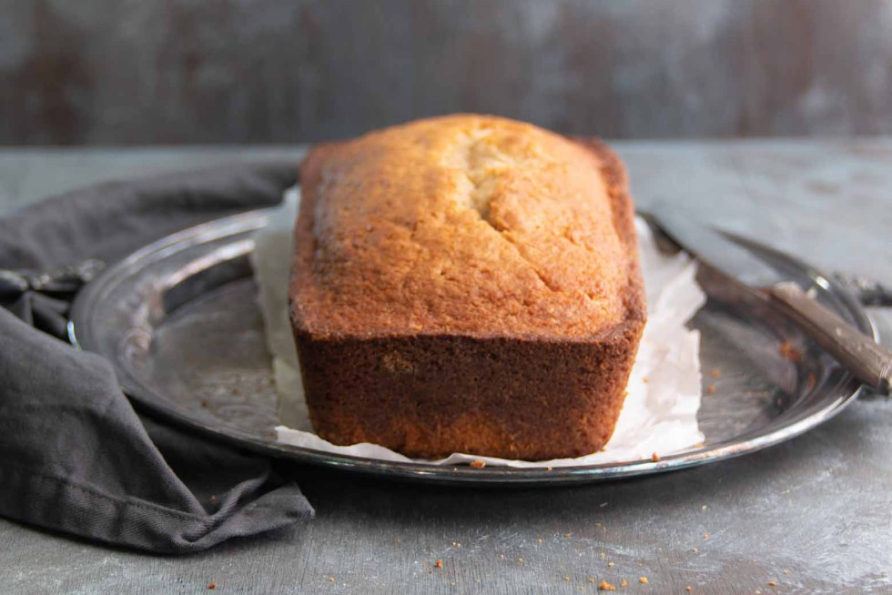A spice loaf cake fresh out of the oven before frosting or decorating