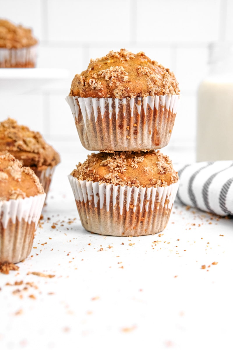 Healthy banana oatmeal muffins with a cinnamon crumb topping are a breeze to whip up and enjoy when you are craving something sweet! These eggless treats are made in a blender and are so simple to make! The recipe is easily adaptable to be vegan or gluten free! #bananaoatmealmuffins #muffins #bananamuffins via @mrsmajorhoff