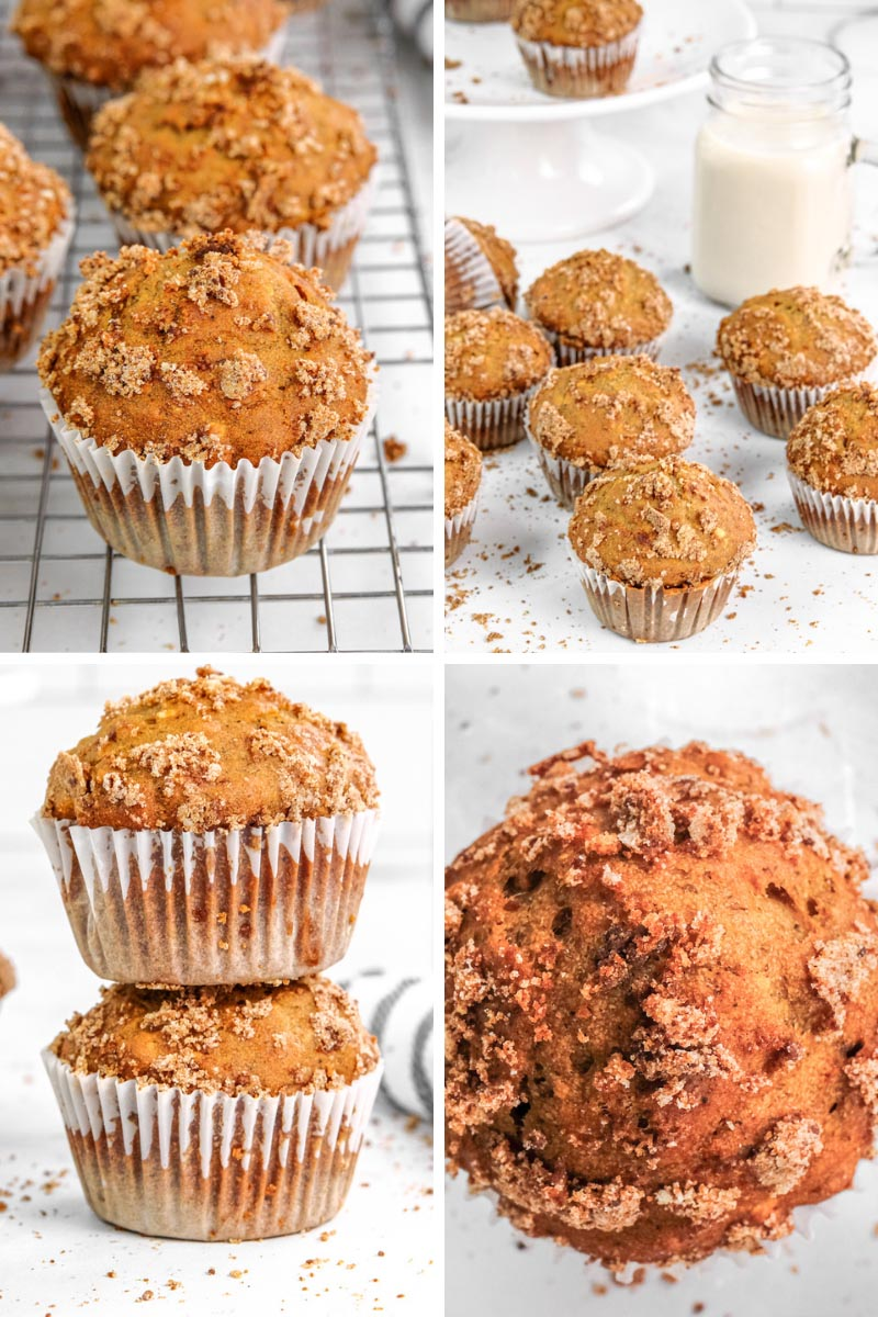 oatmeal banana muffins collage with muffins in liners, crumb topping and a glass of milk