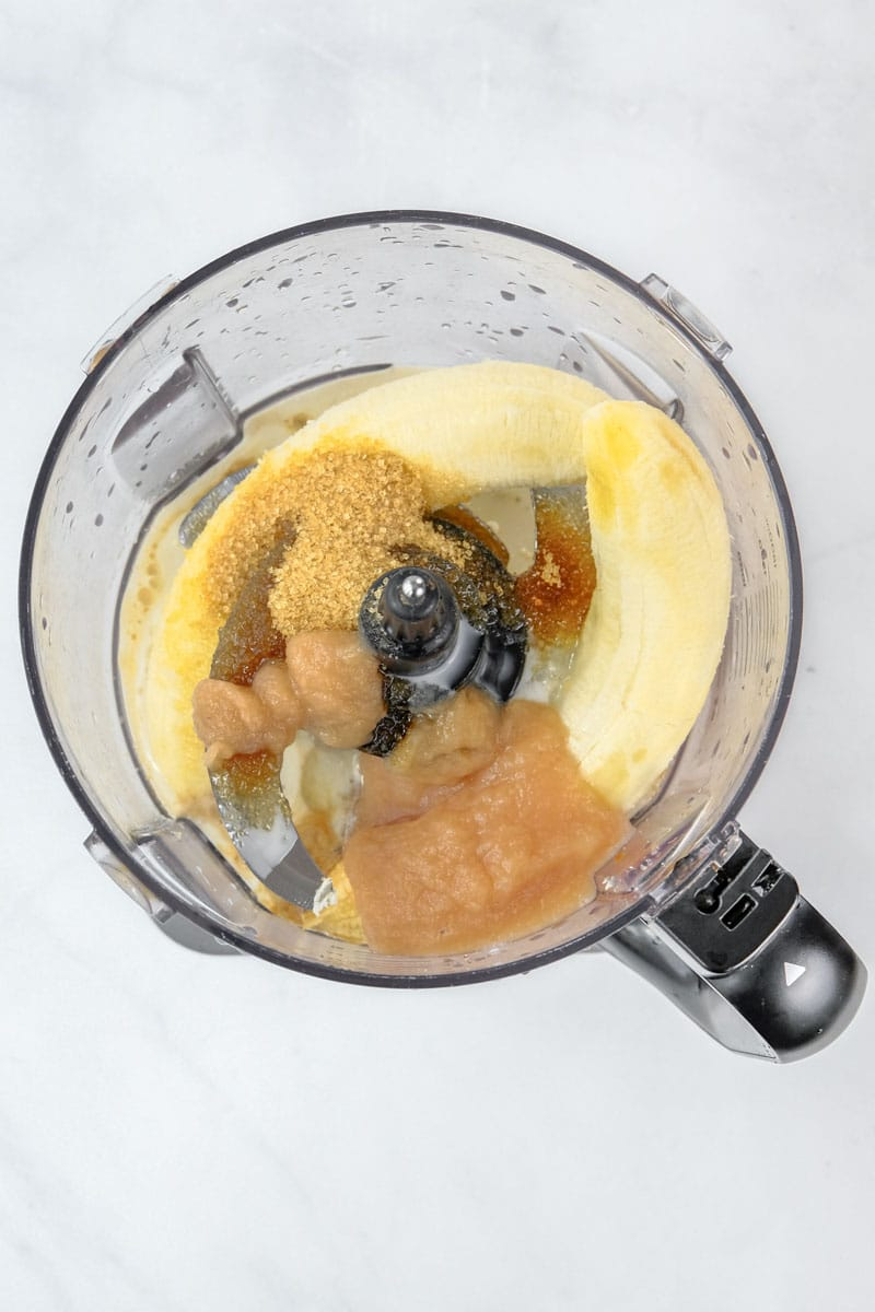 ingredients in a blender to make the muffins