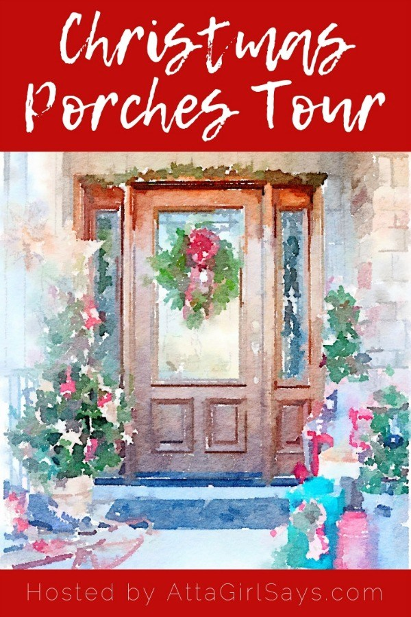 Watercolor front porch decorated for the holidays