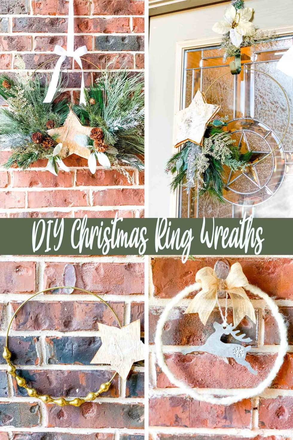 4 modern hoop ring wreaths decorated for Christmas