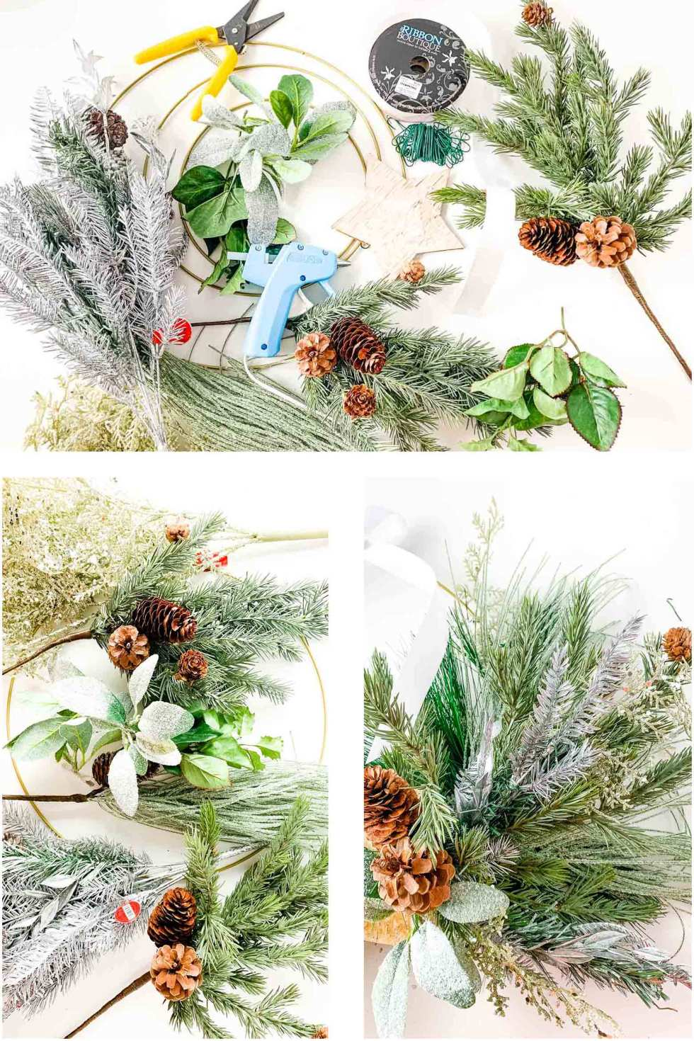 gather supplies to make a wreath with lots of texture on a metal hoop