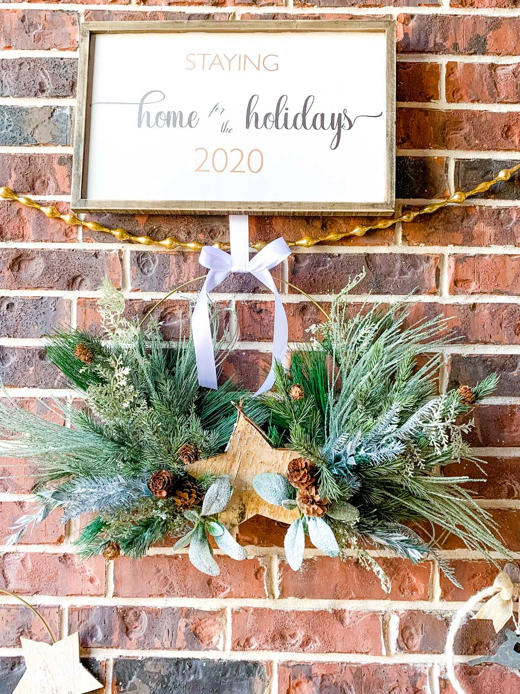 staying home for the holidays 2020 wood farmhouse sign and wreath