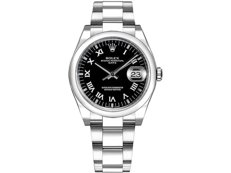 115200 blkrso Rolex Date Oyster Perpetual 34 Black Dial
