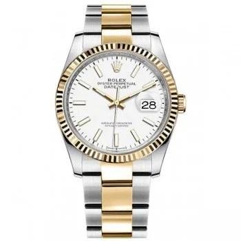 M126233-0020 Rolex Datejust 126233-WHTSO 36mm Yellow Rolesor Ladies Watch