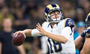 NEW ORLEANS, LA - NOVEMBER 27: Jared Goff #16 of the Los Angeles Rams throws a pass in the first half during a game against the New Orleans Saints at Mercedes-Benz Superdome on November 27, 2016 in New Orleans, Louisiana. (Photo by Wesley Hitt/Getty Images)