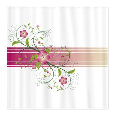 Pink Green u0026 Beige Floral Swirl Shower Curtain