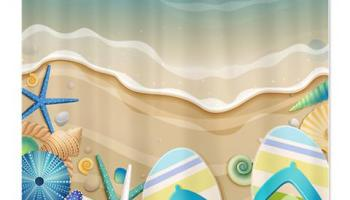 Pretty Sea Shell Flip Flop Beach Shower Curtain
