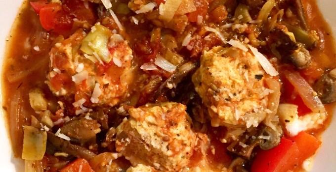 Pomodoro Meatballs over Parmesan Polenta