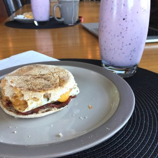 Egg and Turkey Bacon Breakfast Panini + Mixed Berry Smoothie