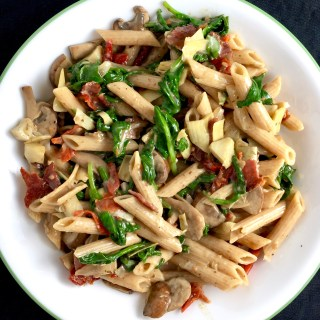 Creamy Spinach, Artichoke, and Sun-Dried Tomato Penne