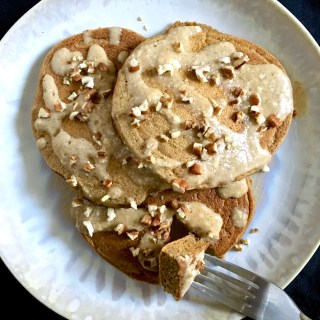 Gingerbread Pancakes with Maple Cream Cheese and Pecans
