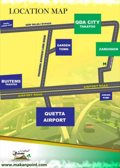 location map of qda city housing society quetta