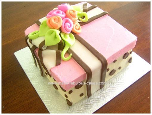 Birthday Cake Idea A Floral Gift Box Cake