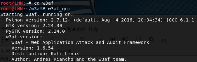 Запуск GUI инструмента w3af на Kali Linux
