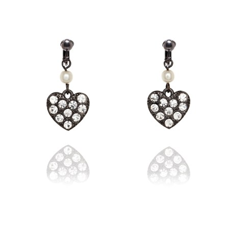 Fiorelli Studded Black Heart Clip On Earrings