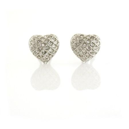 Rodney Holman Dazzling Heart Clip On Earrings
