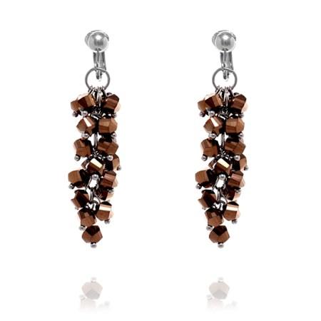 Bead Cluster Long Clip On Earrings - Bronze