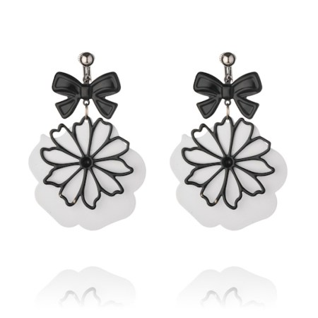 Flower and Bow Clip On Earrings