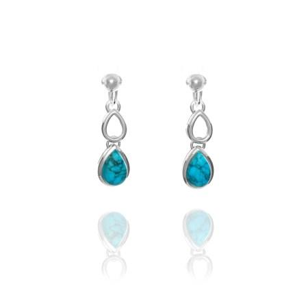 Miryoku 925 Sterling Silver Twin Teardrop Turquoise Clip Earrings