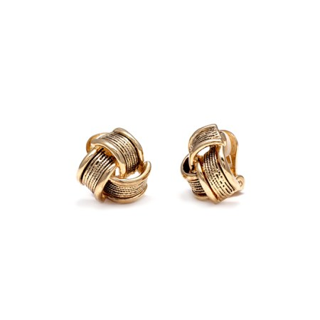 Rodney Holman Gold Intertwined Band Clip On Earrings