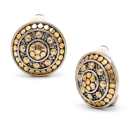 Rodney Holman Gold Plated Button Clip On Earrings
